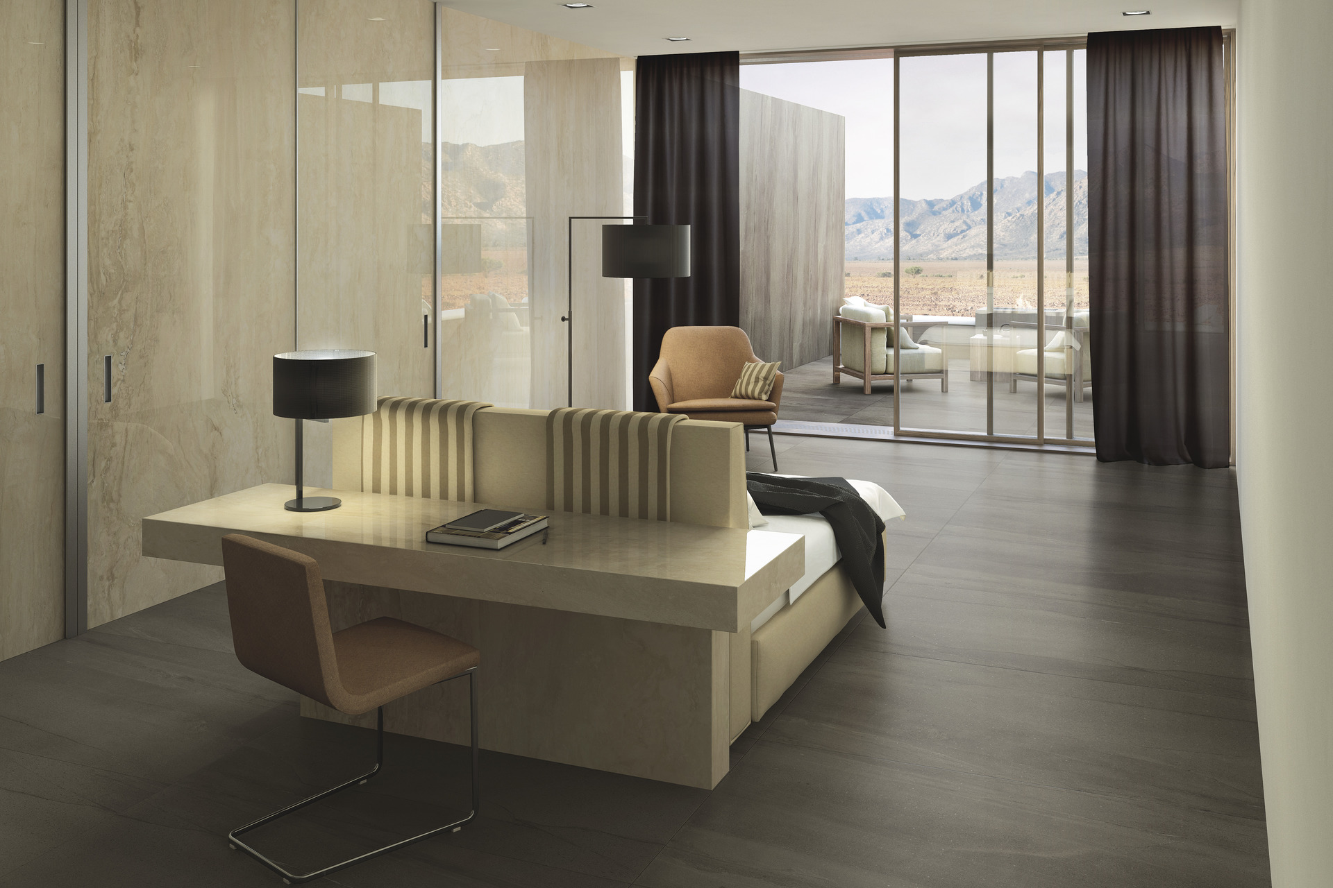 Marble Effect Porcelain Tiles - Travertino