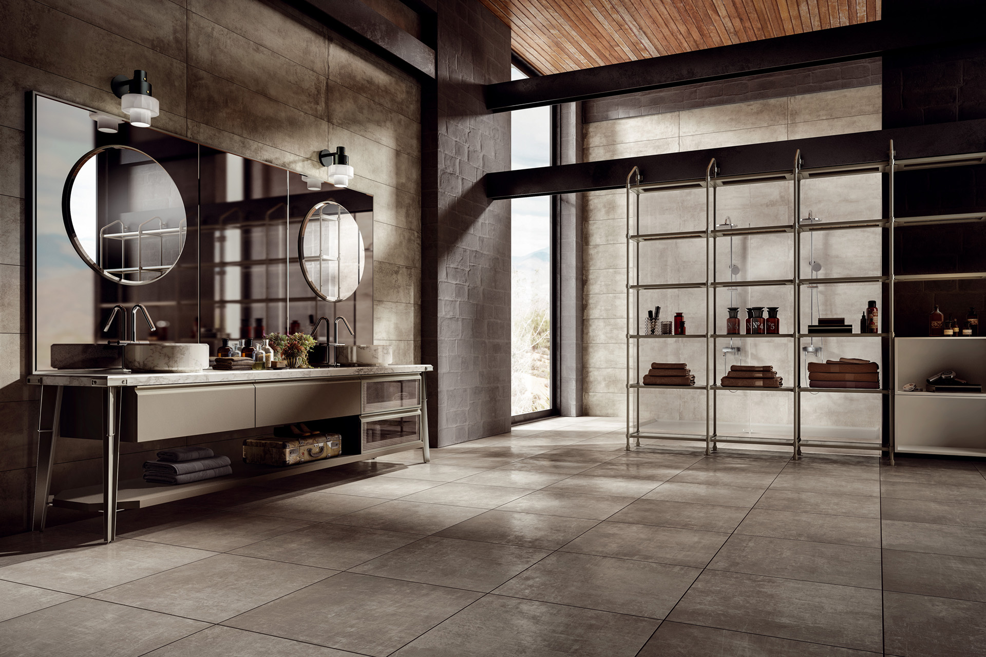 Cement / Resin Effect Porcelain Tiles - Grunge Concrete