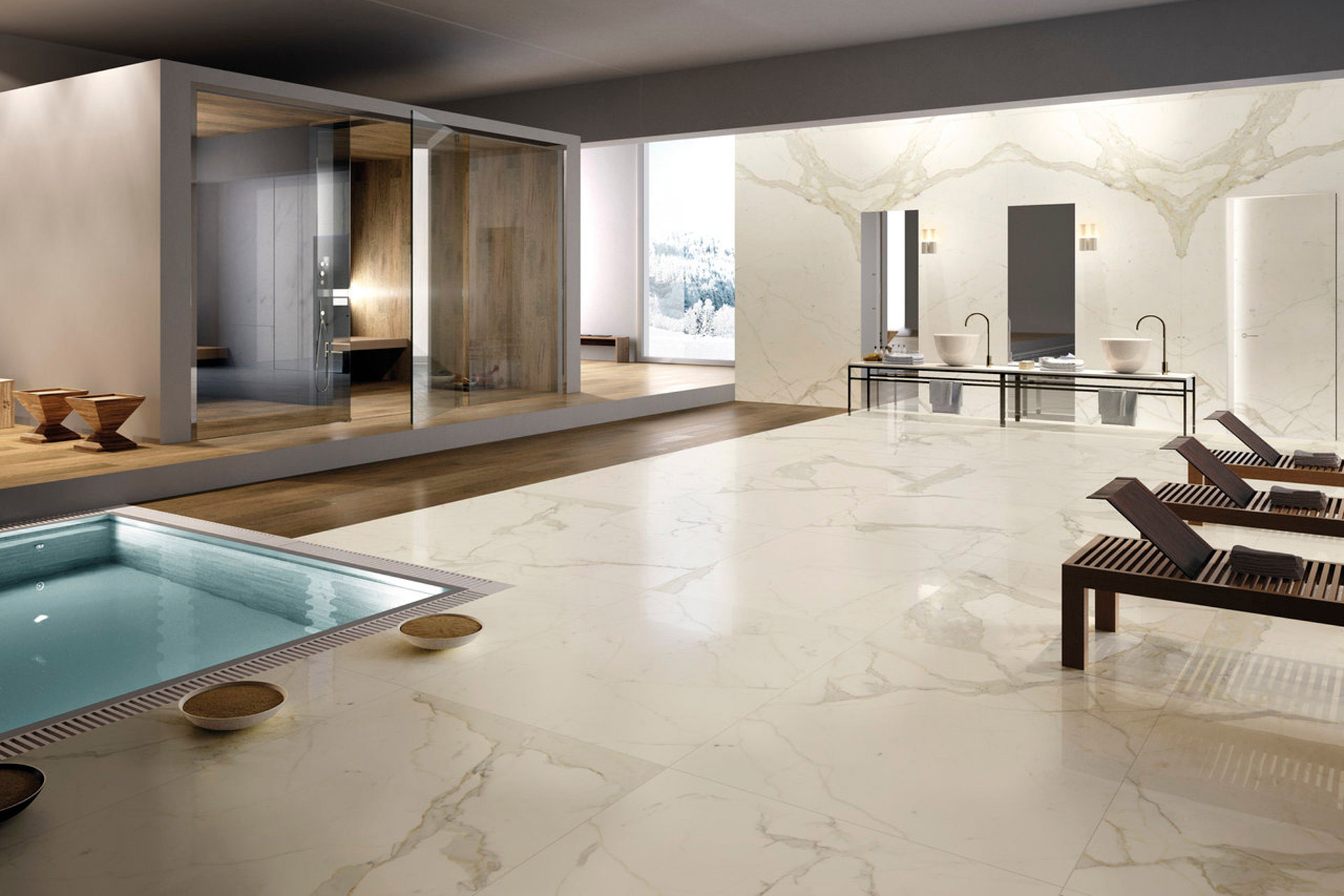 Calacatta SPACES SECONDED BY NEW CERAMIC MATERIALS